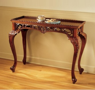 MAHOGANY FILIGREE CONSOLE TABLE