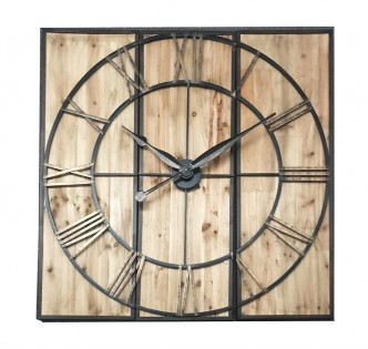 WOODEN ANTIQUE VILLAGE WALL CLOCK 120 CM